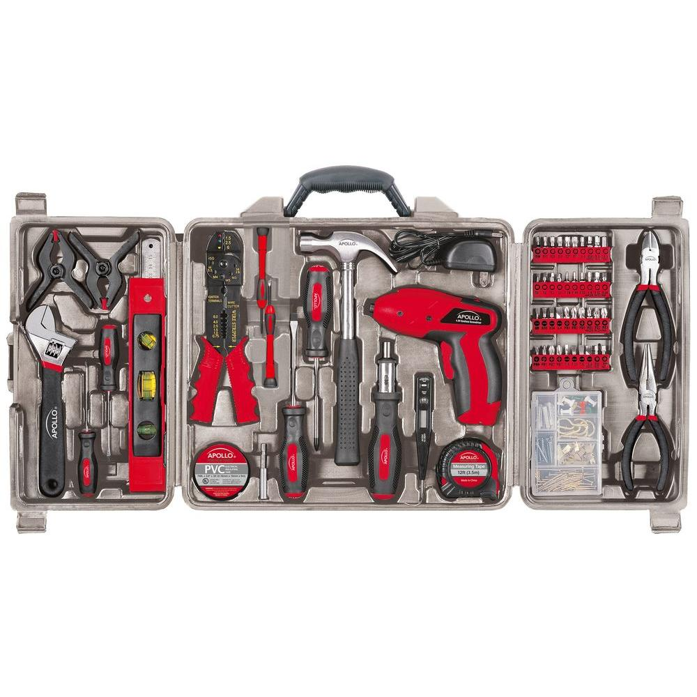 Apollo 161-Piece Household Tool Kit with 4.8-Volt Screwdriver