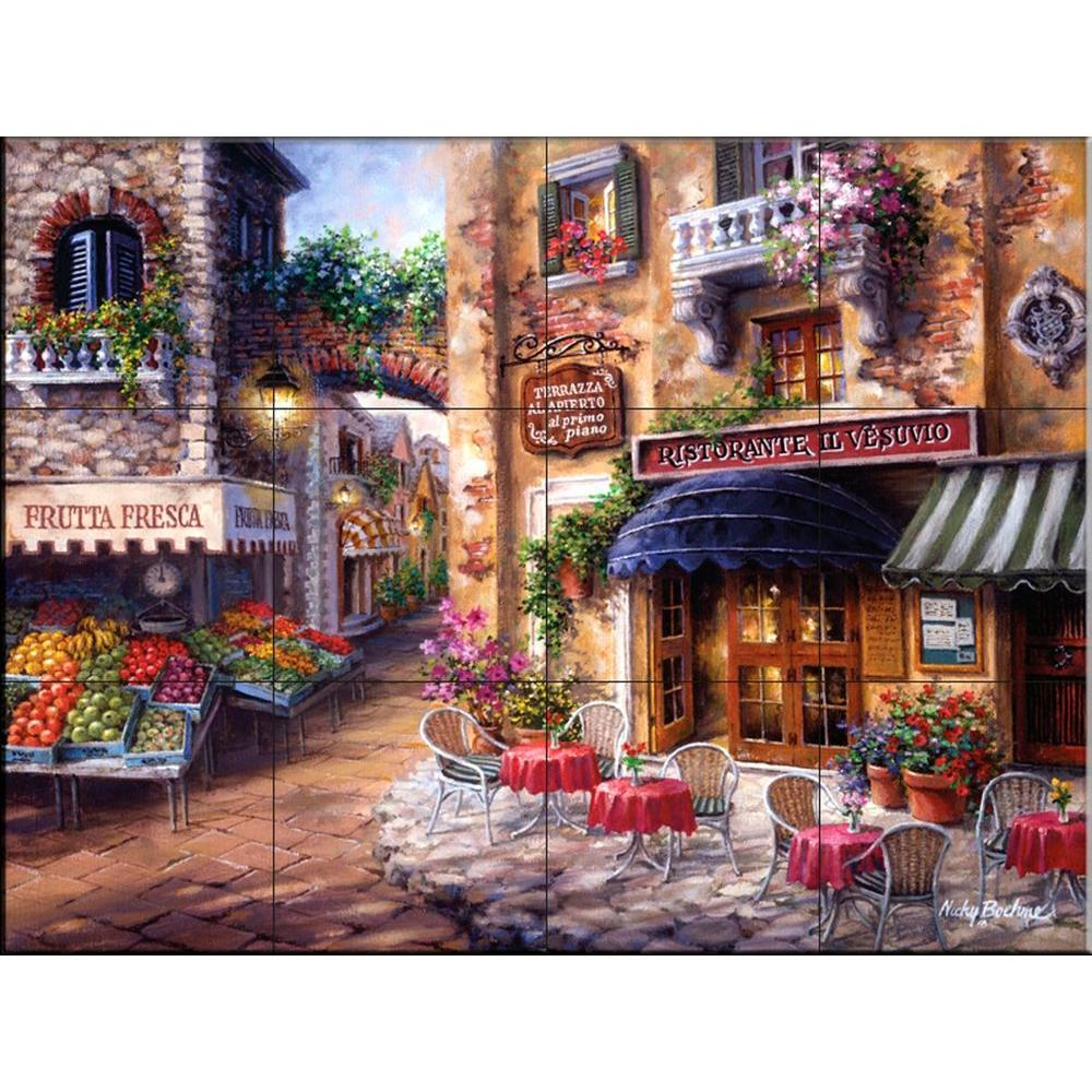 The Tile Mural Store Buon Appetito 24 in. x 18 in. Ceramic Mural Wall Tile
