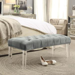 Tremendous Inspired Home Willow Grey Silver Velvet Ottoman Bench With Theyellowbook Wood Chair Design Ideas Theyellowbookinfo