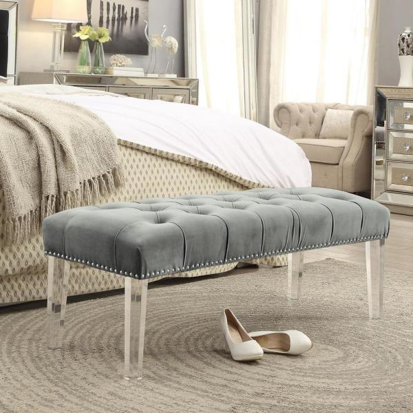 Inspired Home Willow Grey/Silver Velvet Ottoman Bench with Button Tufted