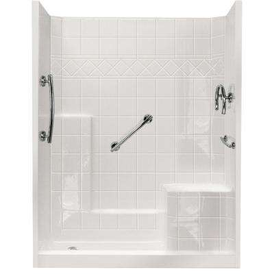 32 in. x 60 in. x 77 in. Freedom Low Threshold 3-Piece Shower Kit in White with Chrome Package Right Seat and Left Drain