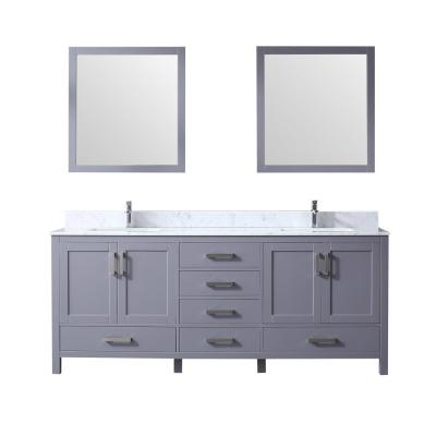 Jacques 80 in. Double Bath Vanity in Dark Grey w/ White Carrera Marble Top w/ White Square Sinks and 30 in. Mirrors