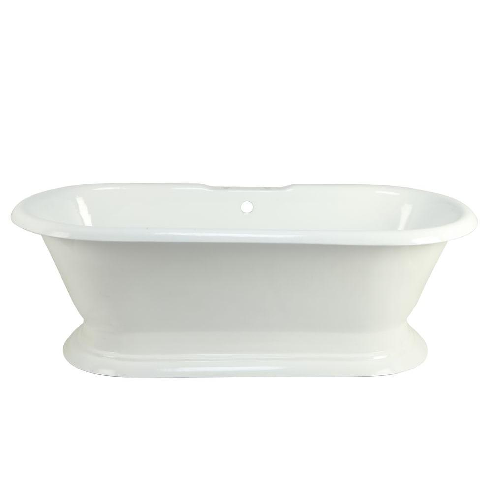 Cast iron double ended pedestal tub with 7 in deck
