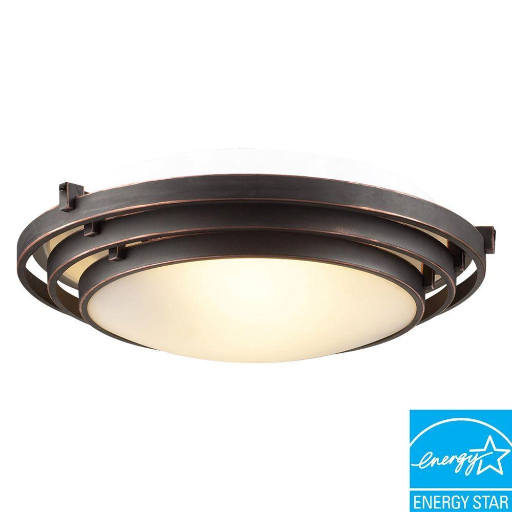 PLC Lighting 1 Light Flush Mount Ceiling Light Oil Rubbed Bronze Finish Acid Frost Glass