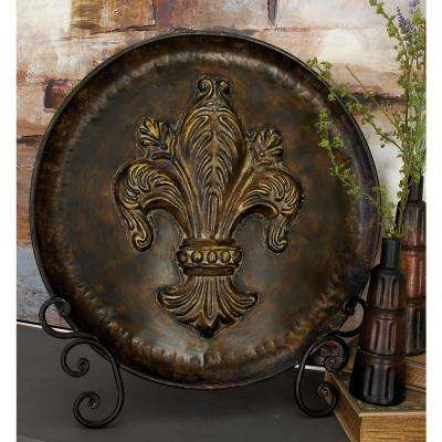 24 in. x 25 in. Burnished Brown Metal Fleur-de Lis Plate with Stand