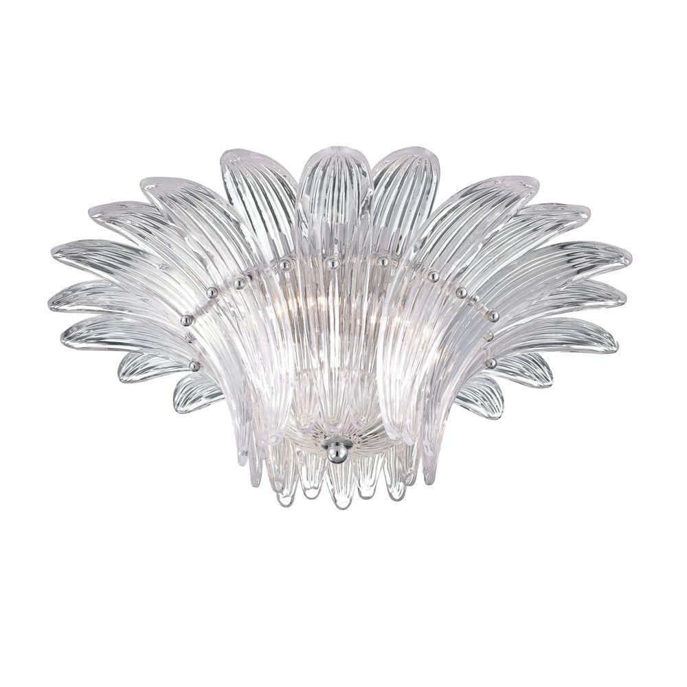 Fiore Collection 3-Light Chrome Clear Flushmount