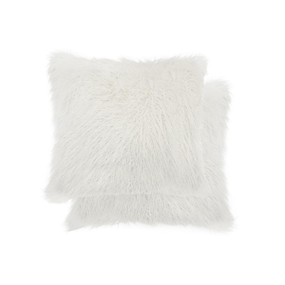 Frisco Mongolian Stone White 20 in. x 20 in. Faux Sheepskin Fur Pillow (2-Pack)