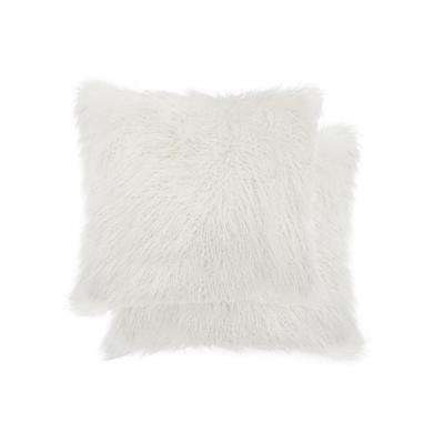 Frisco Mongolian Stone White 20 in. x 20 in. Faux Sheepskin Fur Pillow (2-Pack)