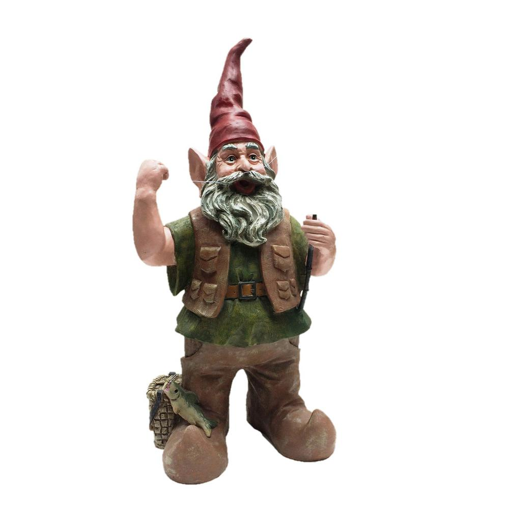 Toad Hollow 21 in. Fisherman Gnome Holding Fishing Pole Collectible Statue