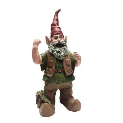 21 in. Fisherman Gnome Holding Fishing Pole Collectible Statue