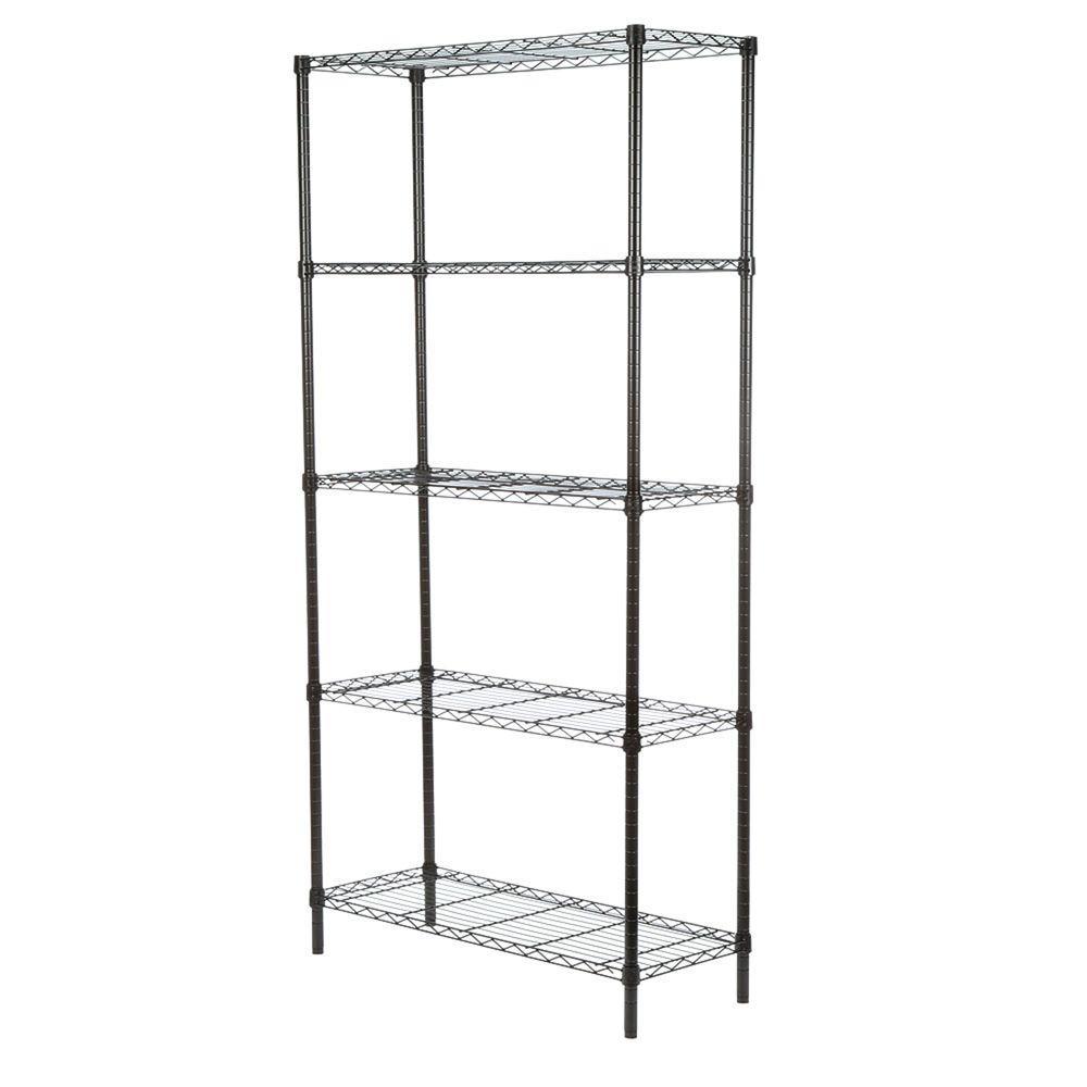 5-Shelf 72 in. H x 36 in. W x 14 in. D Steel Shelving Unit in Black