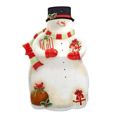 Starry Night Snowman by Susan Winget 3-D Snowman 17 in. Chip & Dip Server