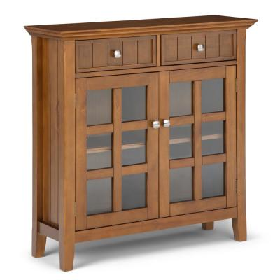 Acadian Solid Wood 36 in. Wide Light Golden Brown Rustic Entryway Hallway Storage Cabinet