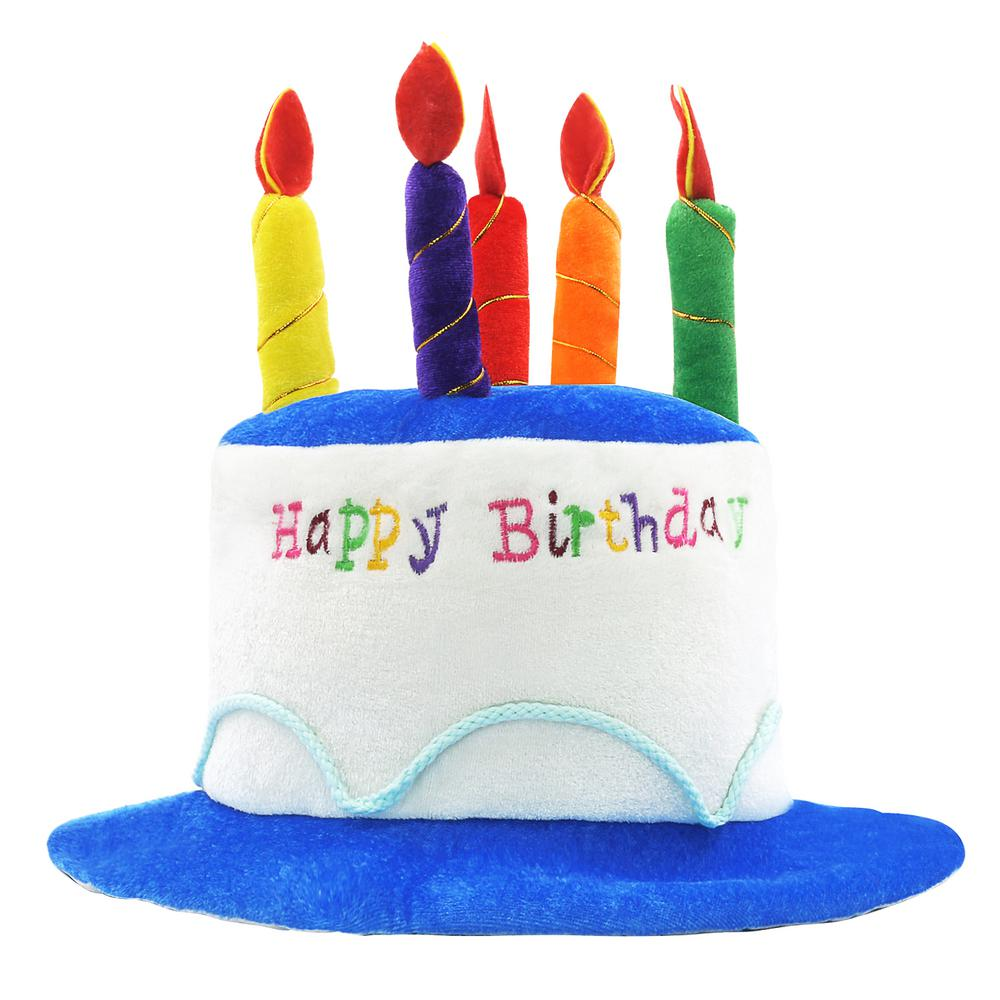 Awe Inspiring Novelty Place Blue Plush Happy Birthday Cake Hat Adult Size Funny Birthday Cards Online Sheoxdamsfinfo