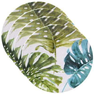 Palm Leaves Green Round Dinner Plate (Set of 4)
