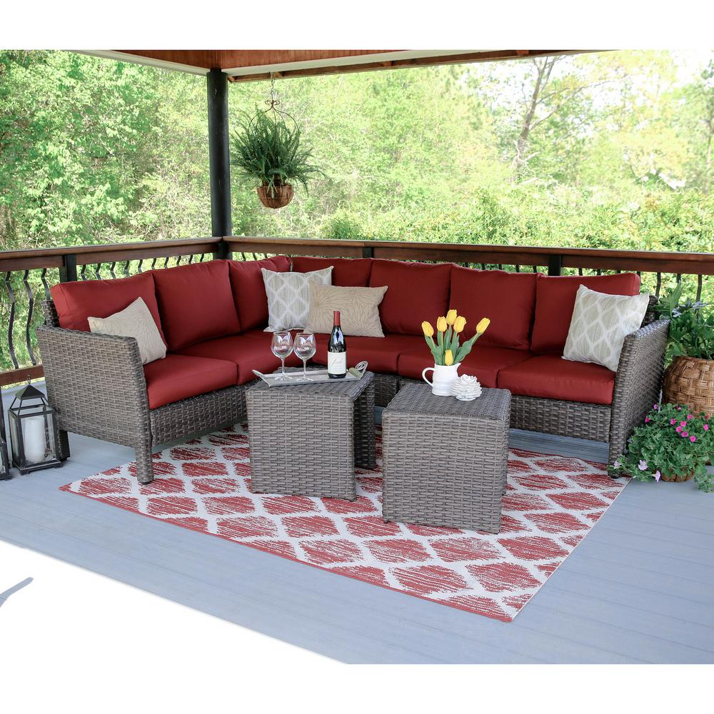 Canton 6-Piece Wicker Outdoor Sectional Set with Red Cushions