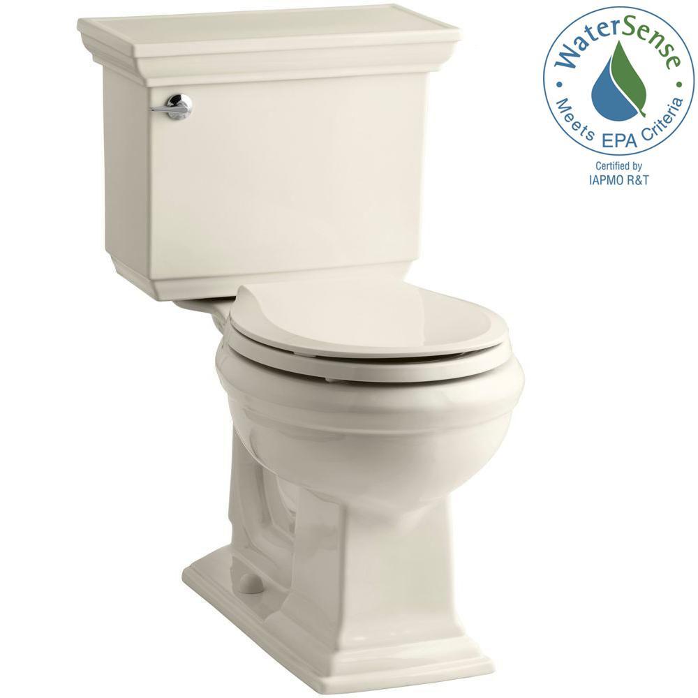 KOHLER Memoirs Stately 2-piece 1.28 GPF Round Toilet with AquaPiston Flushing Technology in Almond