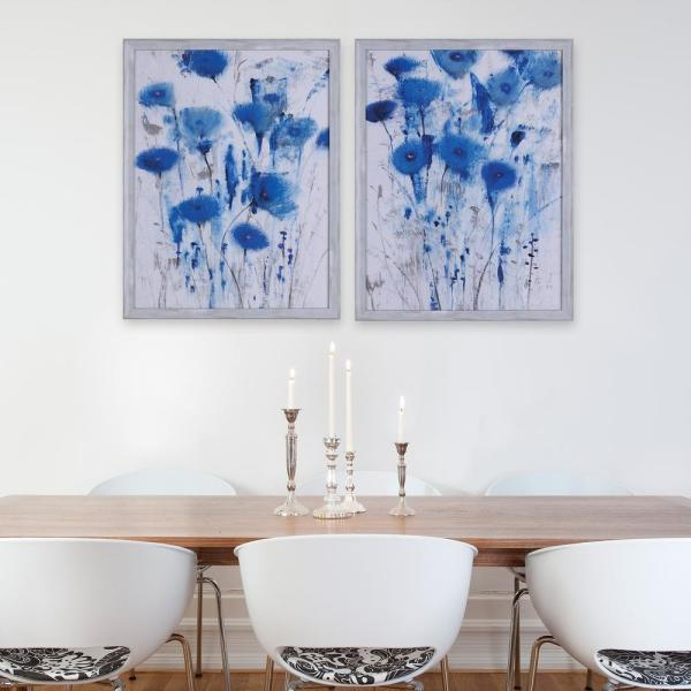 25.50 in. x 19.50 in. Blue Impressions I, Framed Printed floral