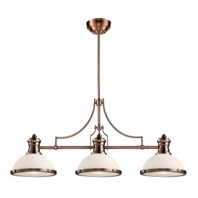 Chadwick 3-Light Antique Copper Island Light With White Glass Shades