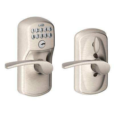 Merano Satin Nickel Keypad Electronic Door Lever with Plymouth Trim Featuring Flex Lock