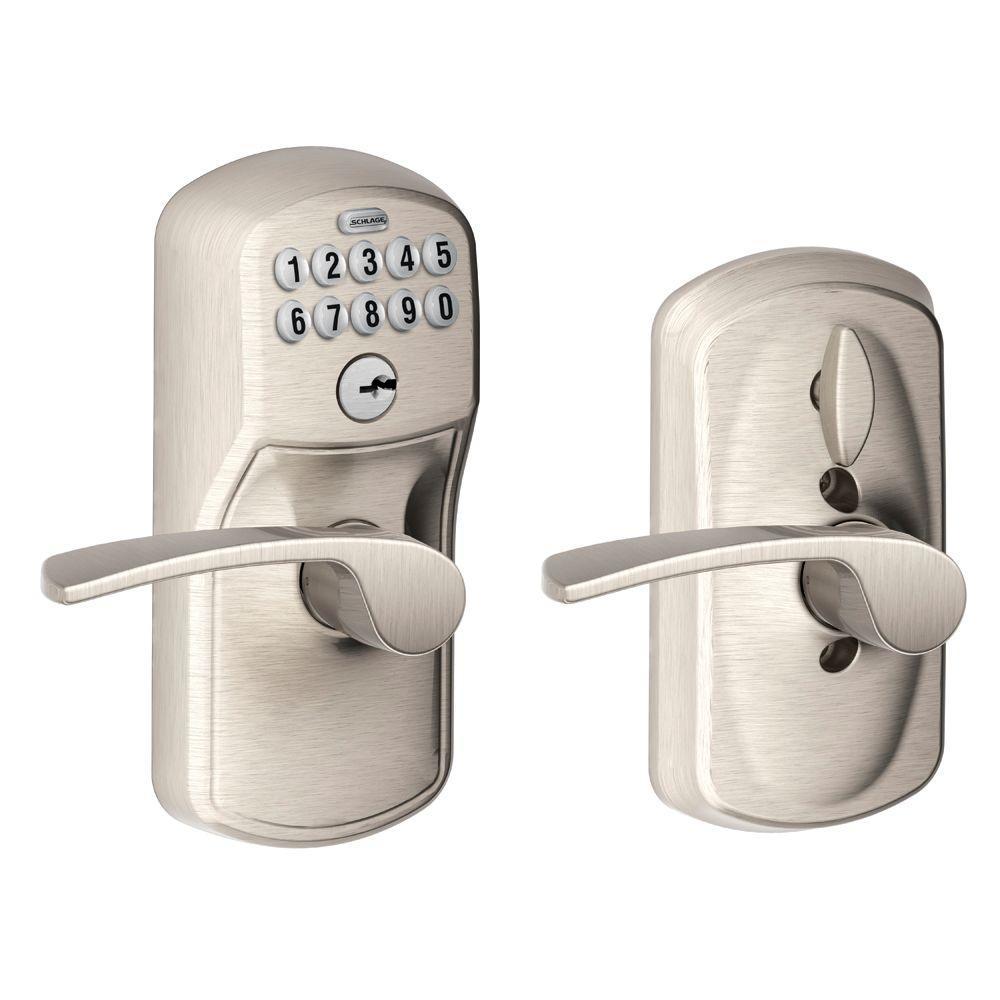 Schlage Plymouth Satin Nickel Electronic Door Lock with Merano Door Lever Featuring Flex Lock