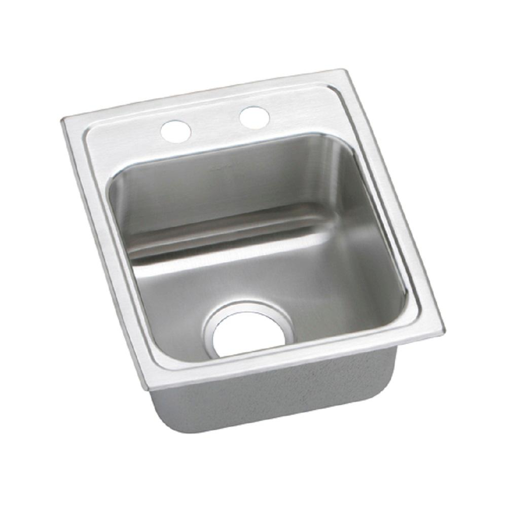 Elkay Lustertone Drop In Stainless Steel 15 In. 2 Hole Bar Sink LR15172    The Home Depot