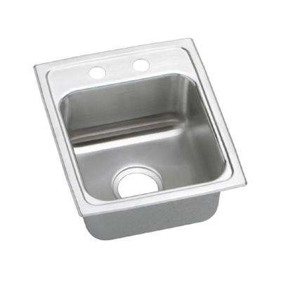 Lustertone Drop-In Stainless Steel 15 in. 2-Hole Bar Sink