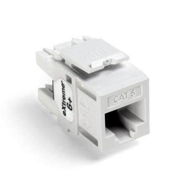 QuickPort Extreme CAT 6 Connector with T568A/B Wiring, White (25-Pack)