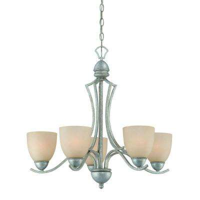Triton 5-Light Moonlight Silver Chandelier with Tea Stained Glass Shade