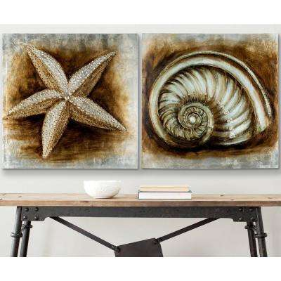 "27.6 in. x 55.1 in. ""Silver and Gray 2 Shell"" Wall Art"