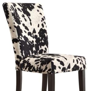 Sensational Homesullivan Whitmire Black Cowhide Fabric Parsons Dining Squirreltailoven Fun Painted Chair Ideas Images Squirreltailovenorg