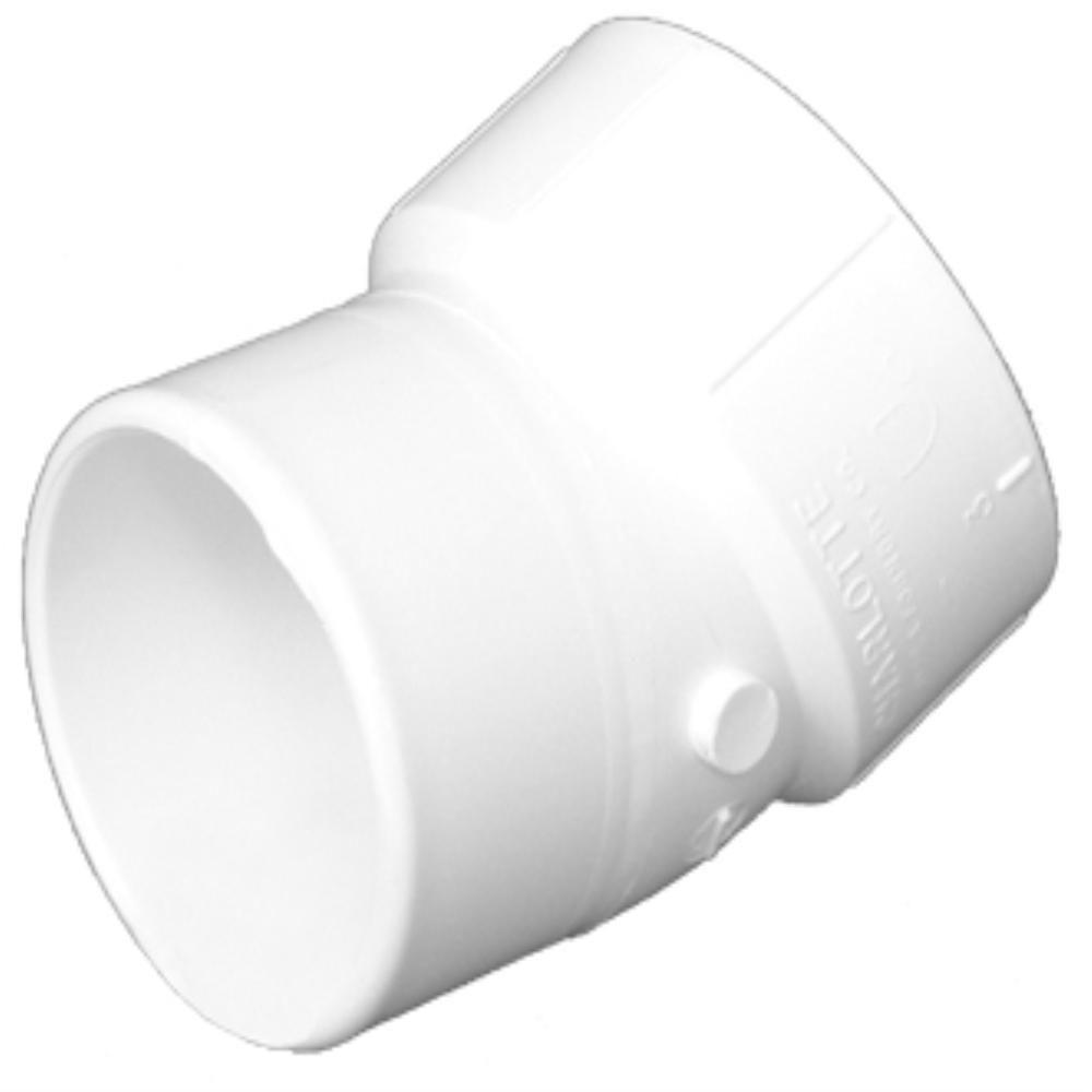 14 in. PVC DWV 22-1/2-Degree Spigot x Hub Street Elbow Fitting