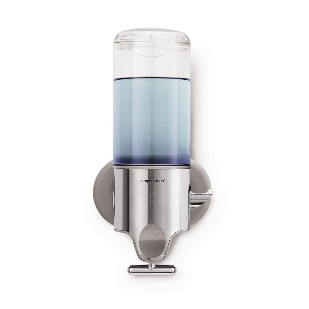 simplehuman Single Wall-Mount Shampoo and Soap Dispenser in Brushed Stainless Steel