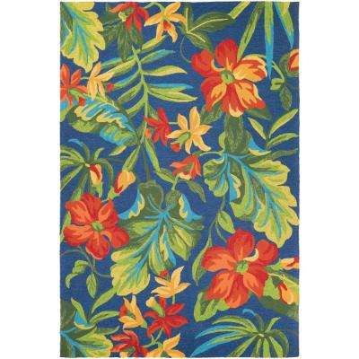 Covington Tropical Orchid Azure-Forest Green-Red 8 ft. x 11 ft. Indoor/Outdoor Area Rug
