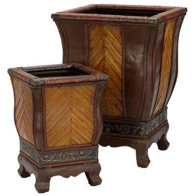 18 in. H Brown Decorative Wood Planters (Set of 2)