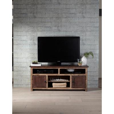 Trilogy 60 in. Light and Dark Pine Wood TV Stand Fits TVs Up to 65 in. with Storage Doors