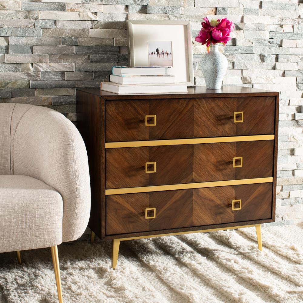 Safavieh Katia 3 Drawer Walnutgold Chest Chs6413b The Home Depot