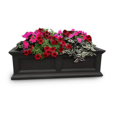 36 in. x 11 in. Black Plastic Window Box