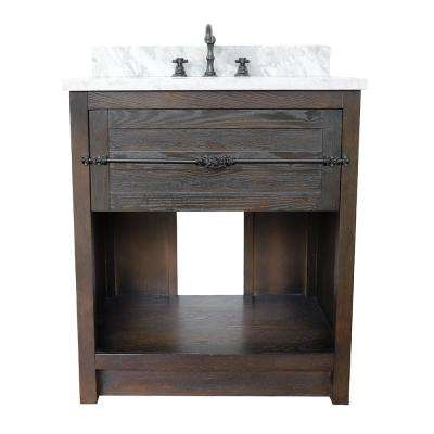 Plantation II 31 in. W x 22 in. D Bath Vanity in Brown with Marble Vanity Top in White with White Rectangle Basin