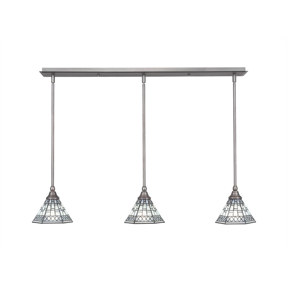 Cambridge 3-Light Brushed Nickel Island Pendant With