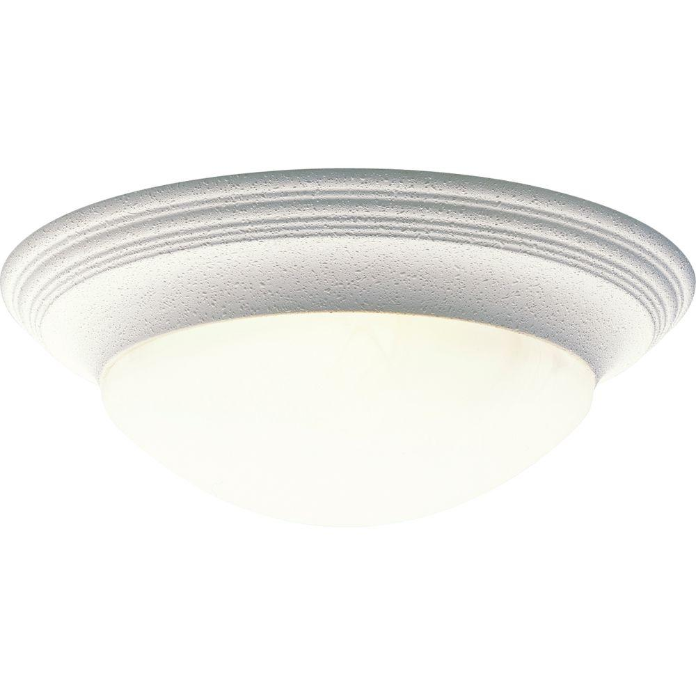 3-Light White Flushmount with Alabaster Glass