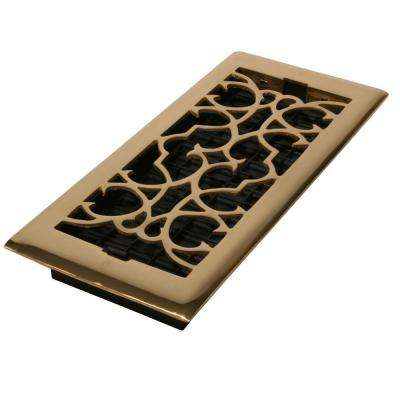 2-1/4 in. x 14 in. Solid Brass Victorian Scroll Floor Register
