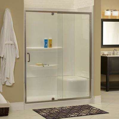 Cove 54 in. W x 69 in. H Frameless Pivot Shower Door and Fixed Panel in Brushed Nickel with 1/4 in. Clear Glass