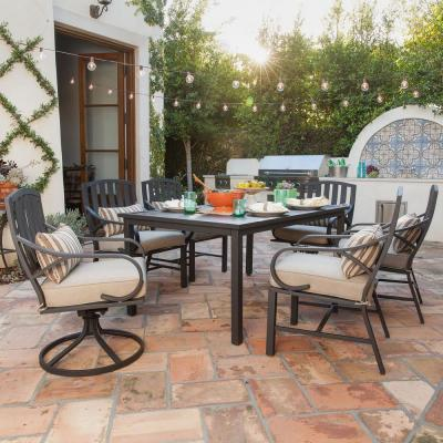 Norman 7-Piece Outdoor Dining Set with Beige Cushions