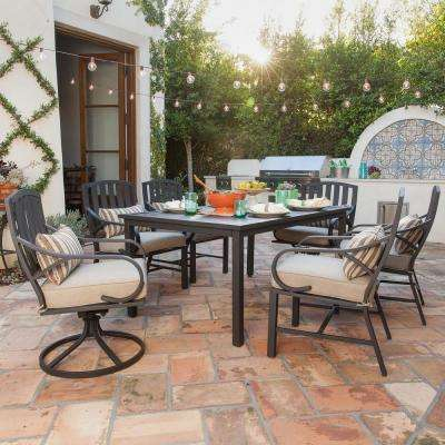 garden patio furniture. Norman 7-Piece Outdoor Dining Set With Beige Cushions Garden Patio Furniture
