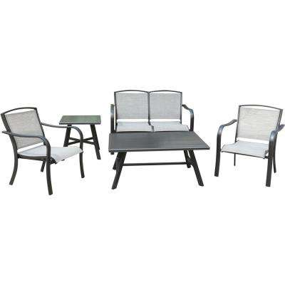 Foxhill Aluminum 5-Piece Commercial Sling Patio Conversation Set with Sunbrella Chairs, Loveseat, Coffee and Side Tables