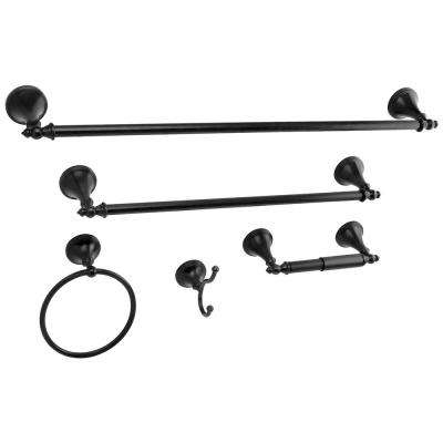 Naples 5-Piece Bathroom Accessory Set in Black Stainless Steel