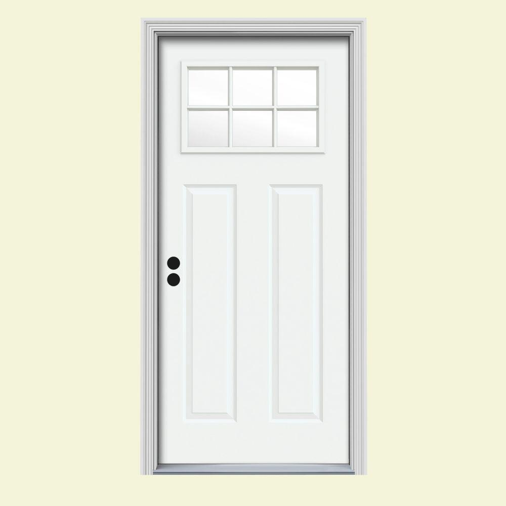 JELD-WEN 30 in. x 80 in. 6 Lite Craftsman White Painted Steel Prehung Right-Hand Inswing Front Door w/Brickmould