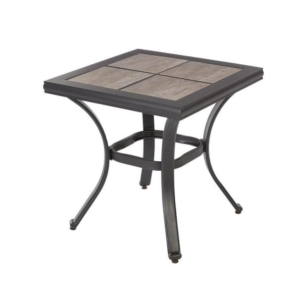 Outdoor Patio Side Table With Tile Top