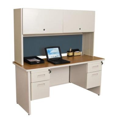 60 in. W x 24 in. D Putty and Slate 60 in. Double File Desk Credenza Including Flipper Door Cabinet
